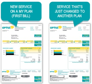 Image features a new service bill and a bill where a plan has been changed