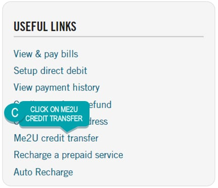 Image showing location of Me2U Credit Transfer link