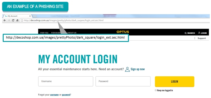 Image showing phishing website