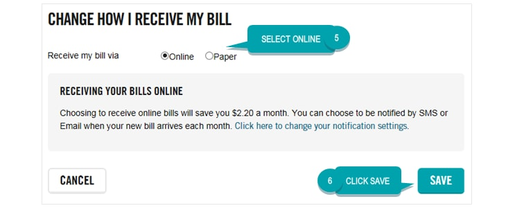 My Account online bill example