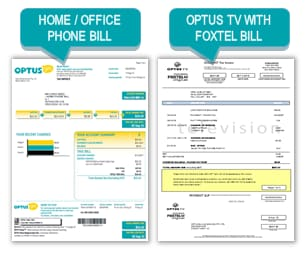 Image features a home account & an optus TV with Foxtel bill