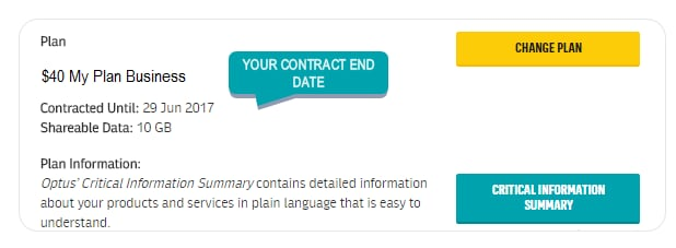 Image of where to find your contract end date