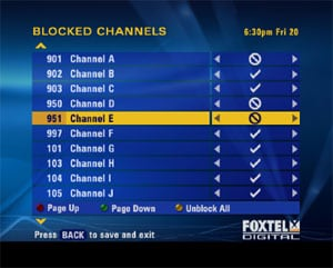 Image showing Blocked Channel menu
