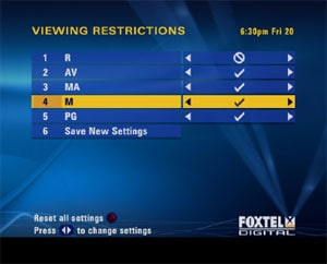 Image showing Viewing Restrictions Menu