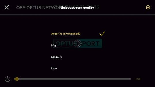Optus Sport Video Quality Selector