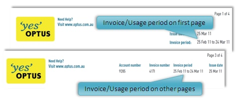 Image showing location of usage period on bills