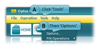 Image showing location of Tools and Options menu
