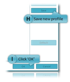 Image showing location of Default, Save and OK buttons