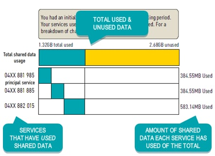 Image showing My Plan Plus Mobile charges with additional usage levels used