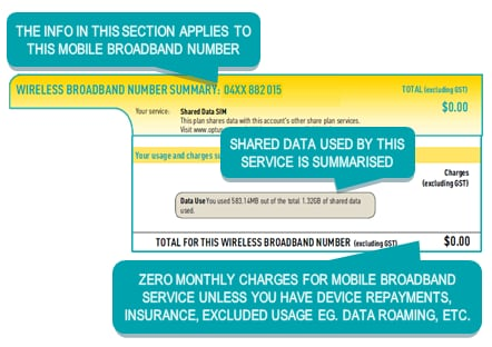 Example of mobile broadband summary page(s)