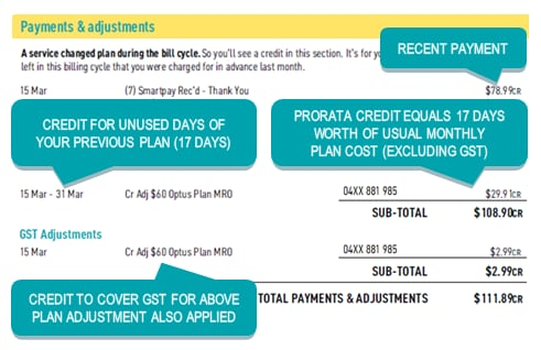 Image showing payments and adjustments with example credit for previous plan