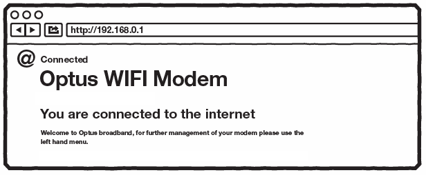 Modem firmware screen