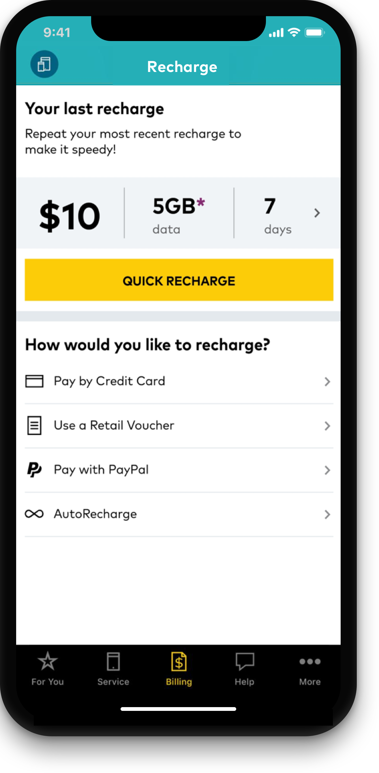 Prepaid customers can recharge in app without using data