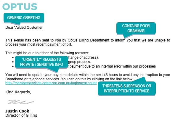 Image showing example of phishing email